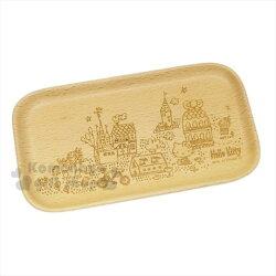 〔小禮堂〕Hello Kitty 木製餐盤《S.棕.長方形.城市.花園.腳踏車》天然環保