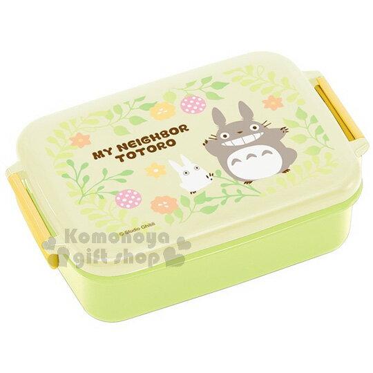 〔小禮堂〕宮崎駿 TOTORO龍貓 扣式便當盒《蘋果綠.花草時光.450ml》可微波加熱 0