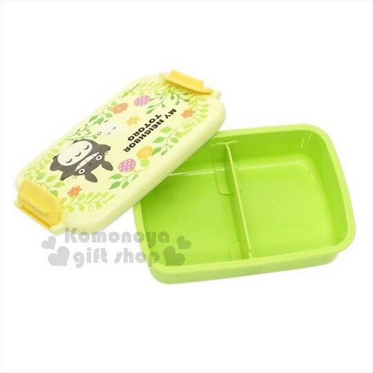 〔小禮堂〕宮崎駿 TOTORO龍貓 扣式便當盒《蘋果綠.花草時光.450ml》可微波加熱 1