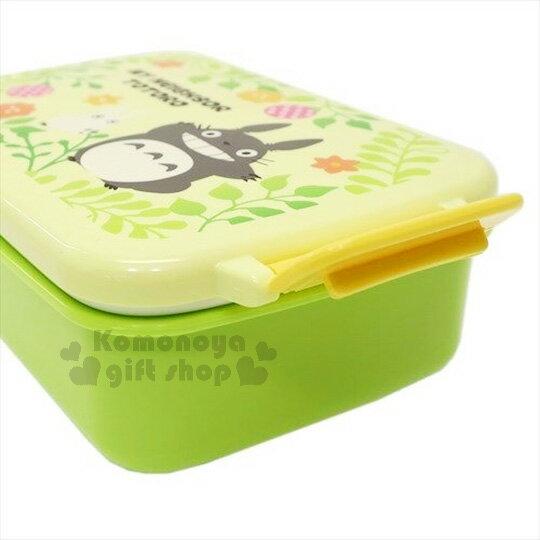 〔小禮堂〕宮崎駿 TOTORO龍貓 扣式便當盒《蘋果綠.花草時光.450ml》可微波加熱 2