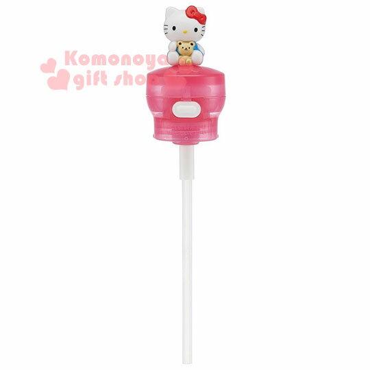 〔小禮堂〕Hello Kitty 寶特瓶彈蓋吸管《桃粉.藍吊帶褲.小熊》350.500ml寶特瓶專用