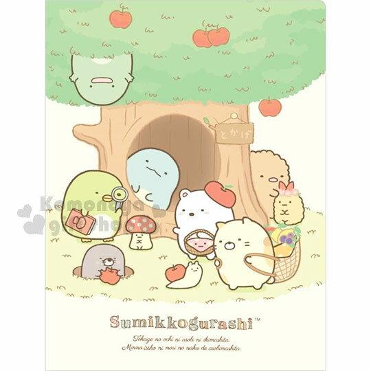 〔小禮堂〕角落生物 L型雙開分類文件夾《A4.綠.蘋果樹.樹洞.多角色.10層》蓬鬆貓咪系列
