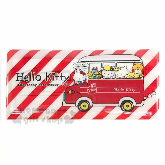 〔小禮堂〕Hello Kitty PVC扣式扁平筆袋《紅白斜紋.紅巴士.好朋友》鉛筆盒.化妝包.萬用包