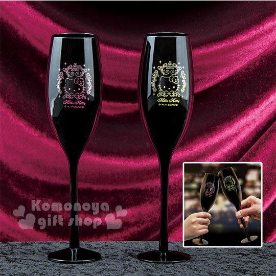 〔小禮堂〕Hello Kitty 玻璃高腳杯《黑.2入.耀金/亮粉畫框.大臉.200ml》精美盒裝