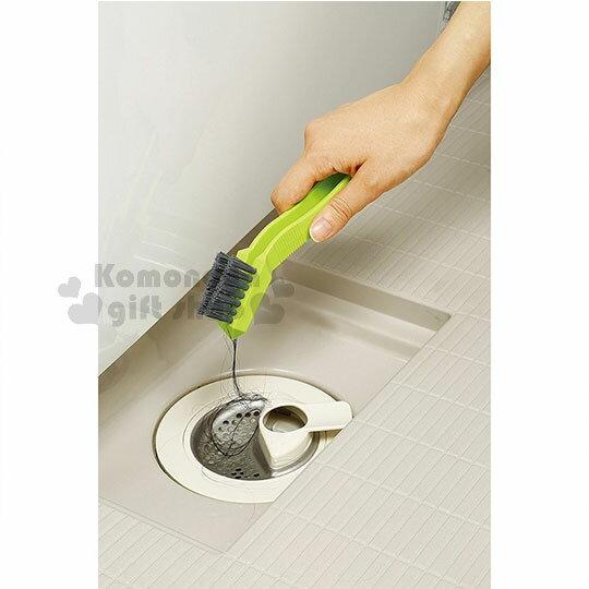 〔小禮堂〕AIWA 日製排水孔清潔刷《綠灰.夾式》浴室專用 2