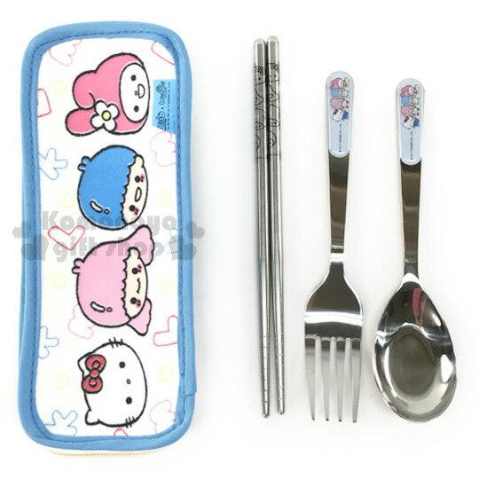 〔小禮堂〕Sanrio 不鏽鋼餐具組《白藍.kitty.美樂蒂.雙子星.大臉》