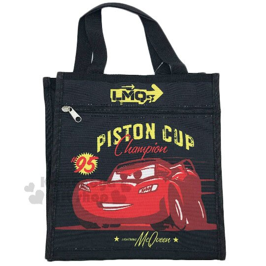 〔小禮堂〕迪士尼 閃電麥坤CARS 直式手提便當袋《S.黑紅.95.漫畫風》方便攜帶