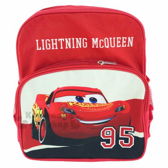 〔小禮堂﹞迪士尼 閃電麥坤CARS 兒童後背包《S.紅白.95編號.面朝右》寬背帶