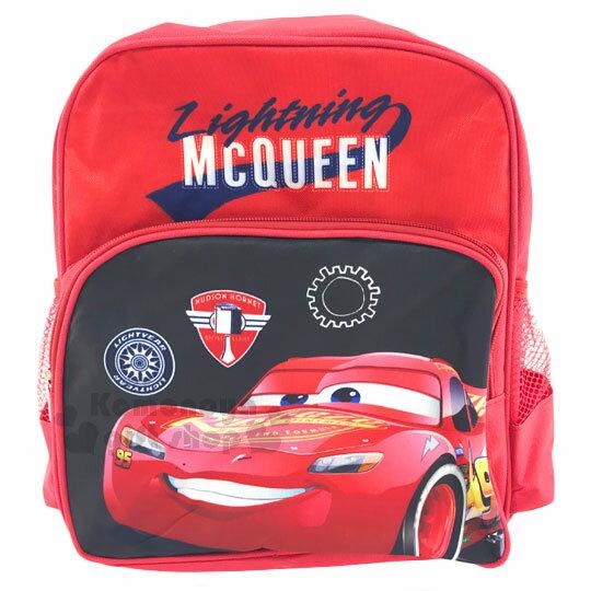 〔小禮堂﹞迪士尼 閃電麥坤CARS 兒童後背包《S.紅黑.徽章.面朝左》寬背帶