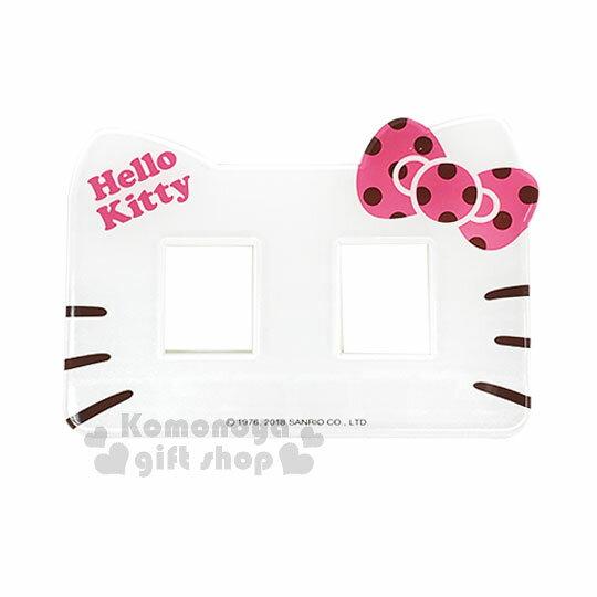 〔小禮堂〕Hello Kitty 橫式插座開關裝飾板~雙孔.大臉.粉蝴蝶結~輕鬆DIY佈置