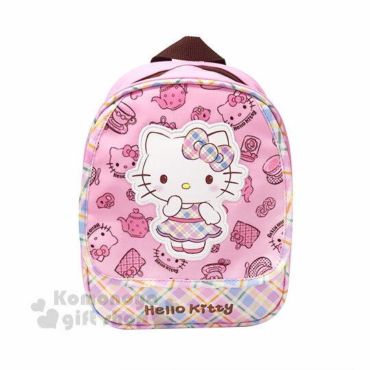 〔小禮堂〕Hello Kitty 尼龍後背包《S.粉.彩格洋裝..茶壺.大臉.滿版》減壓背帶設計