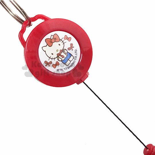 〔小禮堂〕Hello Kitty 證件掛套扣環《2款.隨機出貨.紅白.藍吊帶褲.紅蝴蝶結》 1