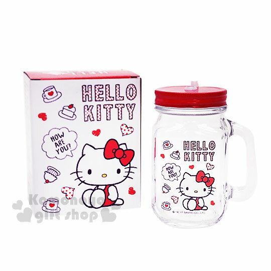 〔小禮堂〕HelloKitty玻璃梅森杯《透明.紅蓋.側坐.咖啡杯.蛋糕.500ml》寬口馬克杯