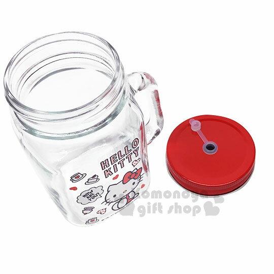 〔小禮堂〕Hello Kitty 玻璃梅森杯《透明.紅蓋.側坐.咖啡杯.蛋糕.500ml》寬口馬克杯 2