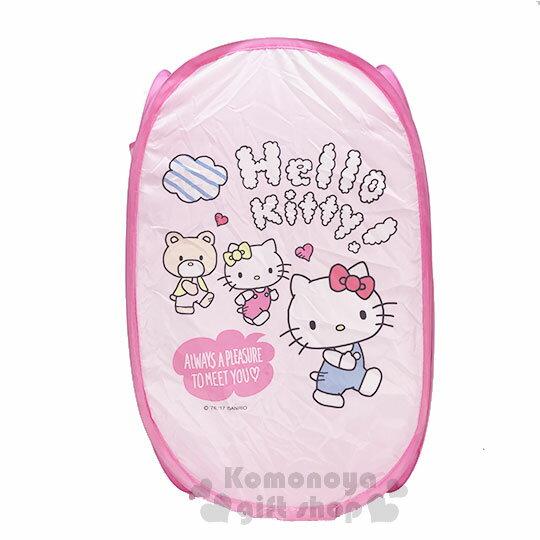 〔小禮堂〕Hello Kitty 折疊網狀洗衣籃《粉.朋友》衣物收納籃.置物籃