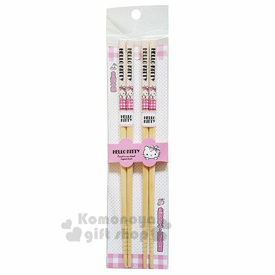 〔小禮堂〕Hello Kitty 天然竹筷組《2入.粉白格.側坐.洋裝.22.5cm》銅板小物 0