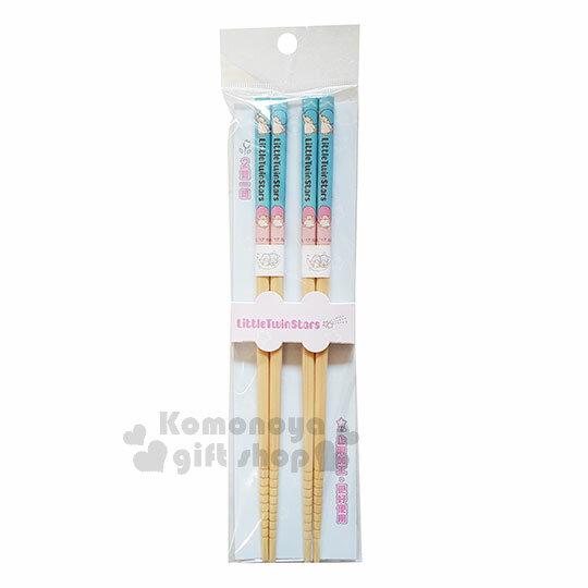 〔小禮堂〕雙子星 天然竹筷組《2入.藍粉.蕾絲.星星.22.5cm》銅板小物 0
