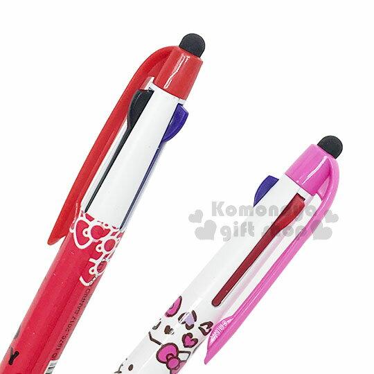 〔小禮堂〕Hello Kitty 觸控多色筆《2款.隨機出貨.白 / 大臉.豹紋.紅 / 側坐.藍吊帶褲》原子筆 1