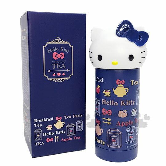 〔小禮堂〕Hello Kitty 造型不鏽鋼水壺《深藍.大臉.蘋果茶.230ml》Vivitix午茶系列 0
