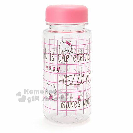 〔小禮堂〕Hello Kitty 隨身冷水壺《桃粉.格線.450ml》三麗鷗粉色系列 0