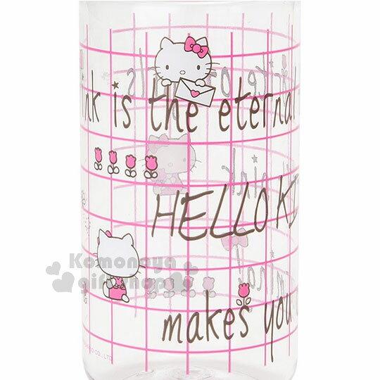 〔小禮堂〕Hello Kitty 隨身冷水壺《桃粉.格線.450ml》三麗鷗粉色系列 1