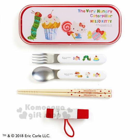 〔小禮堂〕Hello Kitty x 好餓的毛毛蟲 日製兒童餐具組《紅白.蛋糕.糖果》附鬆緊帶