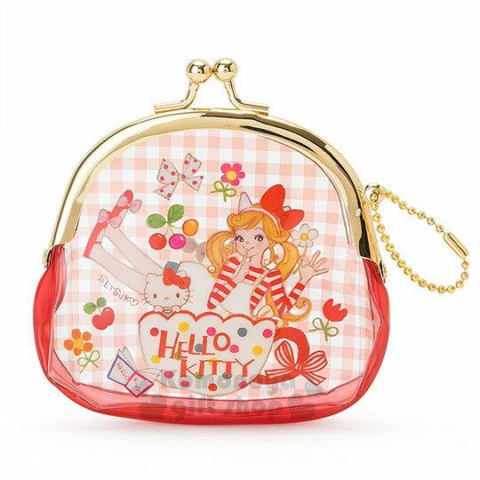 〔小禮堂〕 Hello Kitty 口金防水零錢包《紅格.咖啡杯.櫻桃.透明》童趣插畫系列 0