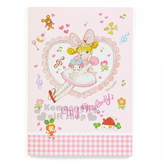 〔小禮堂〕美樂蒂 日製筆記本《A5.粉格.愛心.花邊.洋裝》童趣插畫系列 0