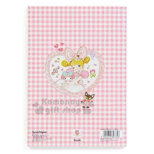 〔小禮堂〕美樂蒂 日製筆記本《A5.粉格.愛心.花邊.洋裝》童趣插畫系列 1