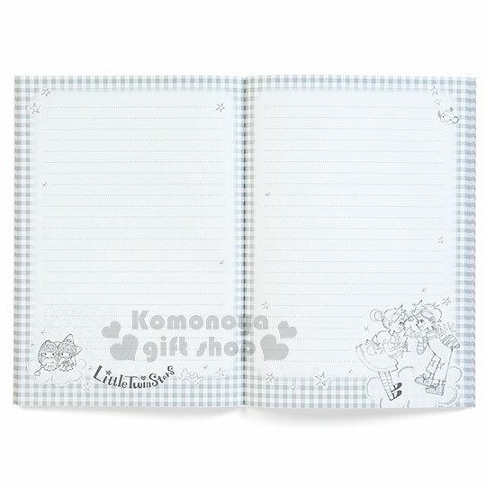 〔小禮堂〕雙子星 日製筆記本《A5.紫格.月亮.男孩女孩.星星》童趣插畫系列 2