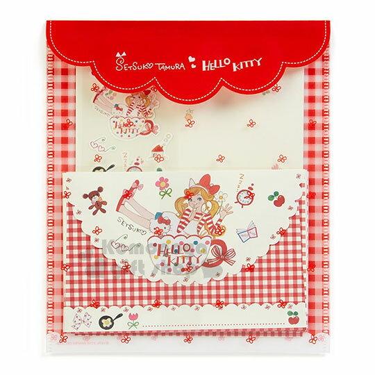 〔小禮堂﹞ Hello Kitty 日製信紙組《紅格.花邊.咖啡杯.多小物》童趣插畫系列 0