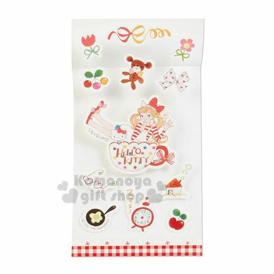 〔小禮堂﹞ Hello Kitty 日製信紙組《紅格.花邊.咖啡杯.多小物》童趣插畫系列 2