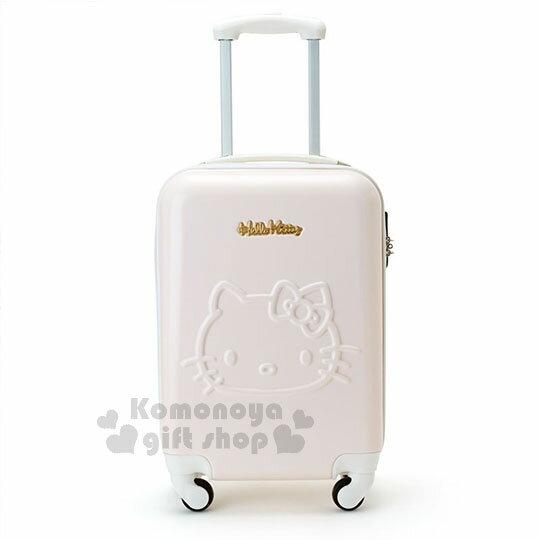 〔小禮堂〕Hello Kitty 硬殼拉桿行李箱《20吋.淡粉.大臉浮雕》登機箱.寵愛玫瑰旅行系列 0