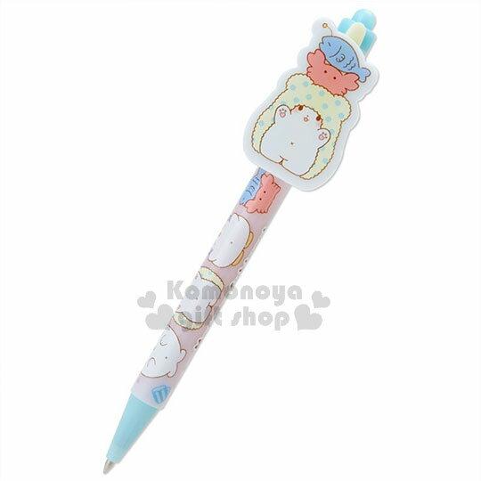 〔小禮堂〕抹布熊 日製多色原子筆《黑色墨水.粉藍.頭頂螃蟹小魚.朋友.張手》 0