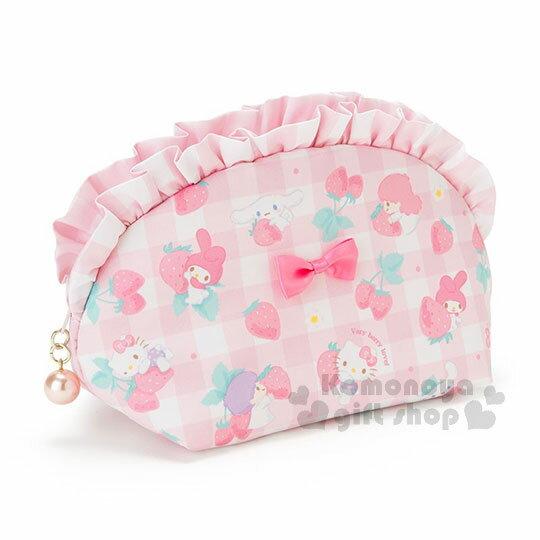 〔小禮堂〕Sanrio大集合 拉鍊化妝包《粉白格.草莓.Kitty.美樂蒂.雙子星.大耳狗》春漾粉莓系列