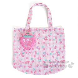 〔小禮堂〕Sanrio大集合 折疊式環保購物袋《M.粉白格.草莓.Kitty.美樂蒂.雙子星.大耳狗》春漾粉莓系列