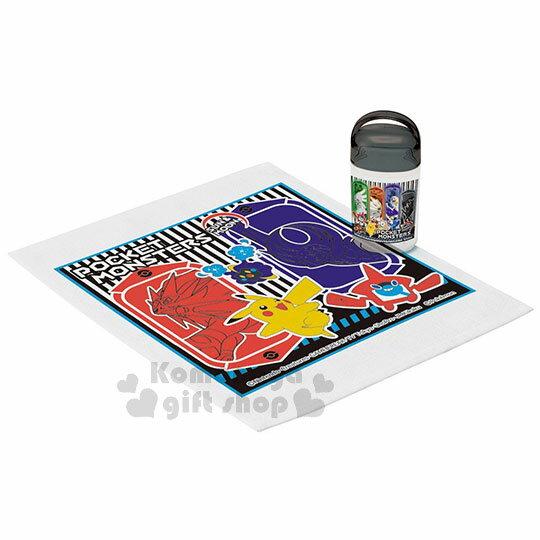 〔小禮堂〕神奇寶貝Pokémon 皮卡丘 日製方形毛巾附罐《黑.太陽  月亮.32x28c