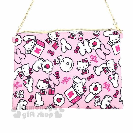 〔小禮堂〕Hello Kitty 手機斜背包《粉.粉吊帶褲.側坐.玩具箱.滿版》附背鍊 1