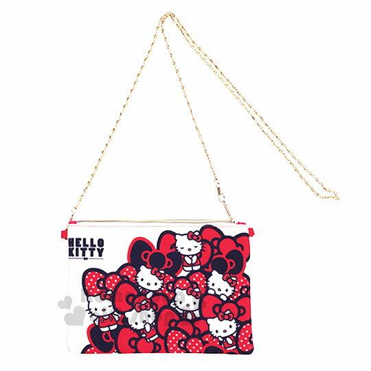 〔小禮堂〕Hello Kitty 手機斜背包《紅白.蝴蝶結.滿版》附背鍊 0