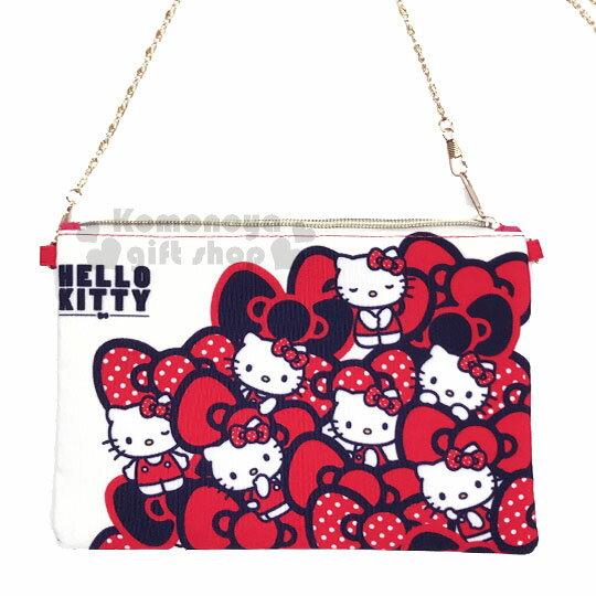〔小禮堂〕Hello Kitty 手機斜背包《紅白.蝴蝶結.滿版》附背鍊 1