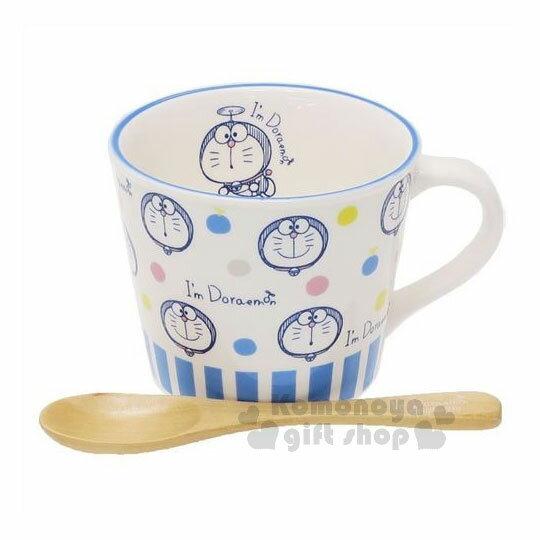 〔小禮堂〕哆啦A夢陶瓷馬克杯附木匙《白.滿版.大臉.點點》精緻盒裝