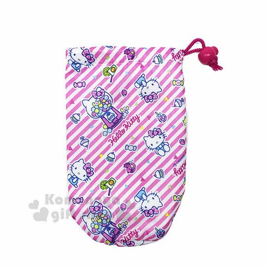 〔小禮堂〕Hello Kitty 保冷水壺套《粉白斜紋.糖果機.甜點.滿版》銅板小物
