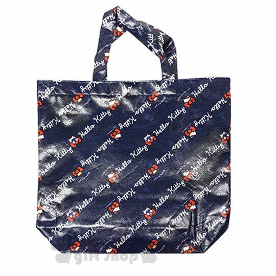 〔小禮堂〕HelloKitty不織布購物袋《深藍.LOGO.紅蝴蝶結》銅板小物