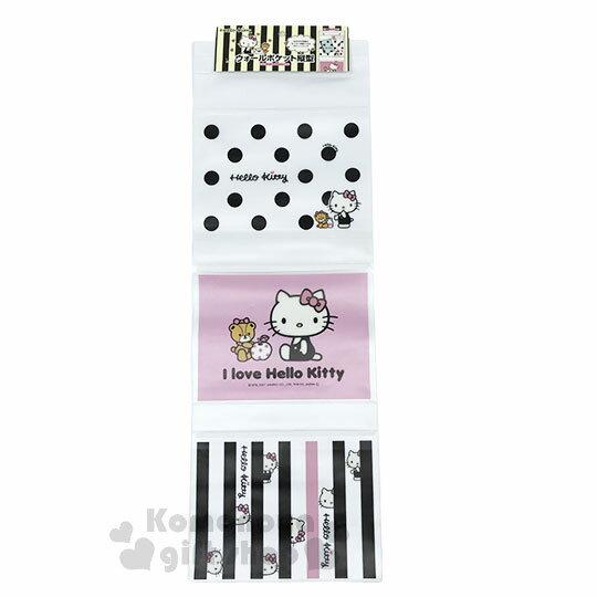 〔小禮堂〕Hello Kitty 壁掛收納袋《3格.黑白.經典側坐.小熊》銅板小物