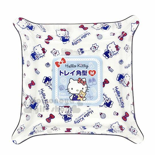 〔小禮堂〕HelloKitty塑膠方形置物盤《M.藍.透明.滿版.蝴蝶結.15cm》銅板小物