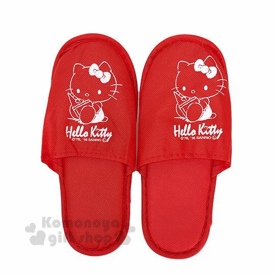 〔小禮堂〕Hello Kitty 拋棄式拖鞋《紅.側坐.讀書.22-24cm》銅板小物