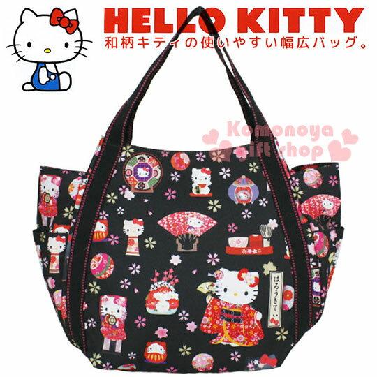 小禮堂 Hello Kitty 帆布托特包《L.黑.和風.櫻花.招財貓.扇子》手提包.肩背包.外出包