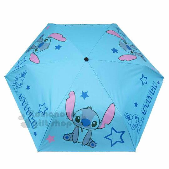 〔小禮堂〕迪士尼 史迪奇 折疊手動雨傘《藍.星星.坐姿》折傘