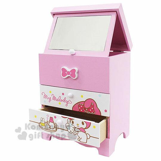 〔小禮堂〕美樂蒂 三抽折鏡收納盒《粉白.蝴蝶結.繽紛點點.下午茶》木製櫃
