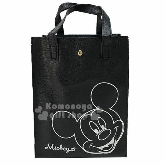 〔小禮堂〕迪士尼 米奇 皮革直式補習袋便當袋《A4.黑.大臉.微笑》方便攜帶